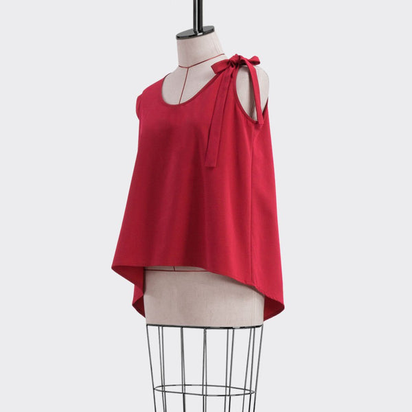 Fall 2018 Asymmetric Flare Top Polyester Red M