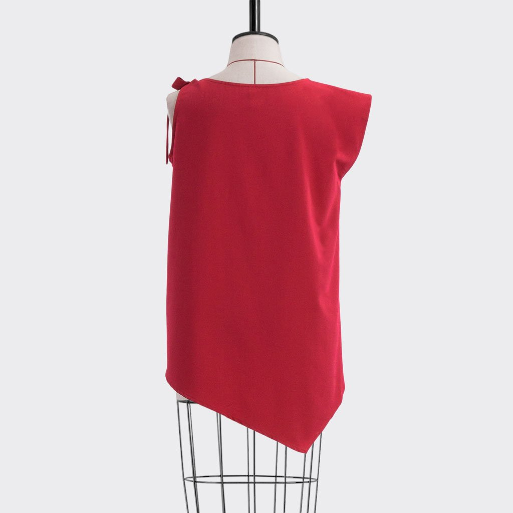Fall 2018 Asymmetric Flare Top Polyester Red L