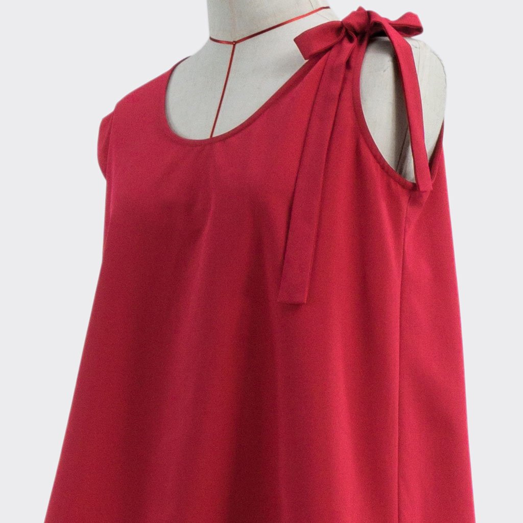 Fall 2018 Asymmetric Flare Top Polyester Red XL