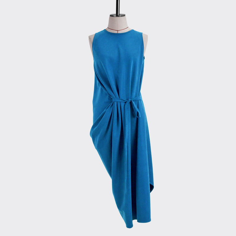 Resort 2018/19 Bias Drape Dress Tencel Polyester Turquoise S