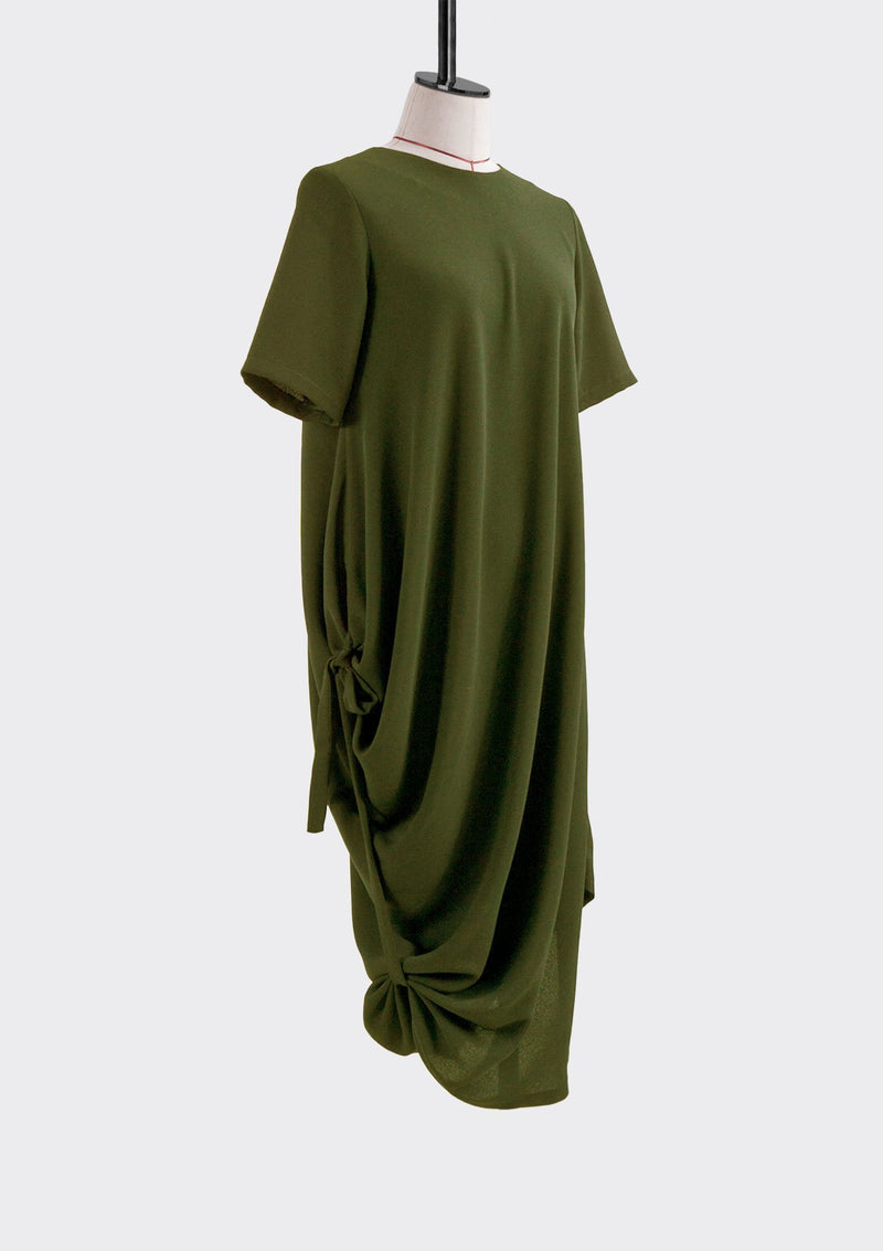 Spring Summer 2019 Off Drape Dress Polyester Green