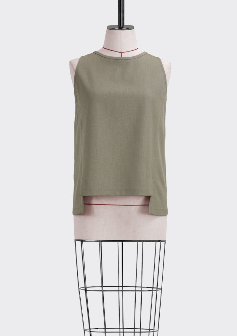 Fall 2019 Ledge Top Polyester Rayon Khaki S