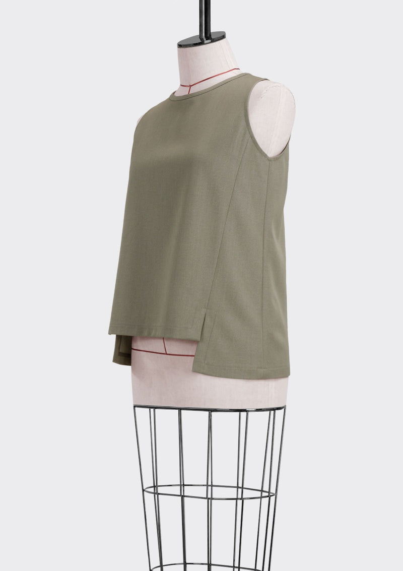 Fall 2019 Ledge Top Polyester Rayon Khaki M