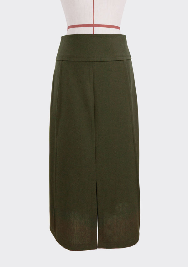Fall 2019 Grid Skirt Polyester Green S