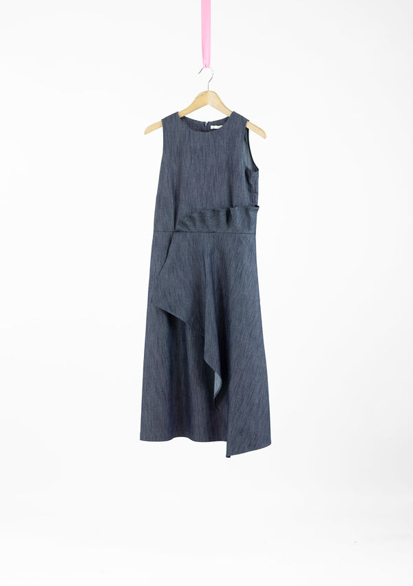 Limited Edition Elana Dress Cotton Denim Blue S