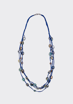 Spring Summer 2019 Knotted Beads Necklace FM Blue FS