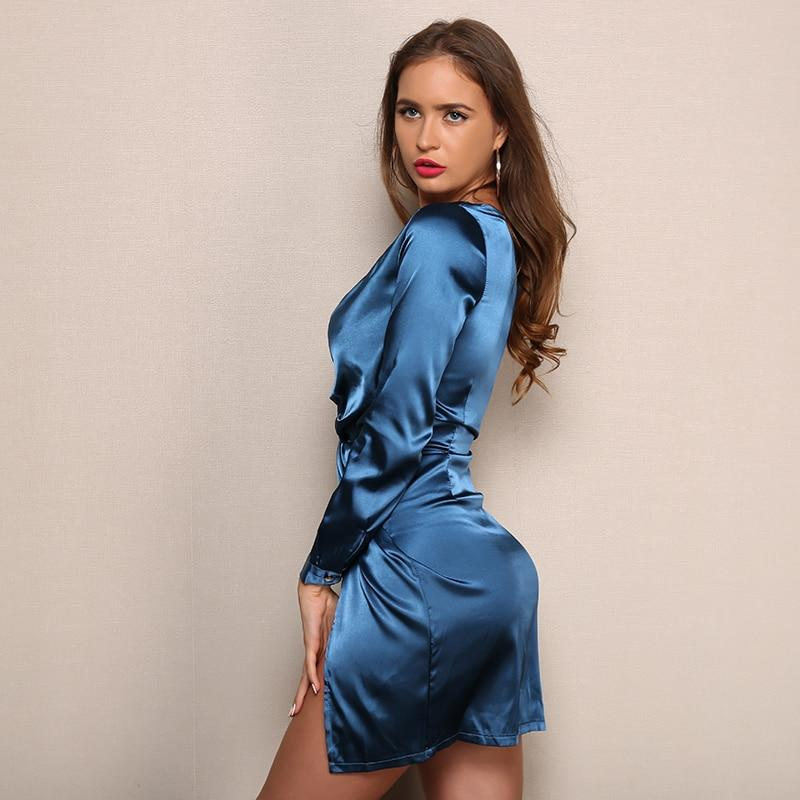 Blue Side Split Satin Mini Dress