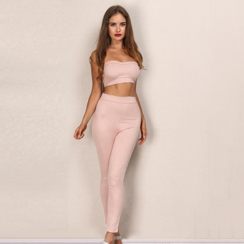 Pink Suede Two Piece Autumn Jumpsuit