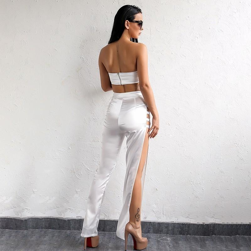 Casual White Two Piece Hollow Out Jumpsuit