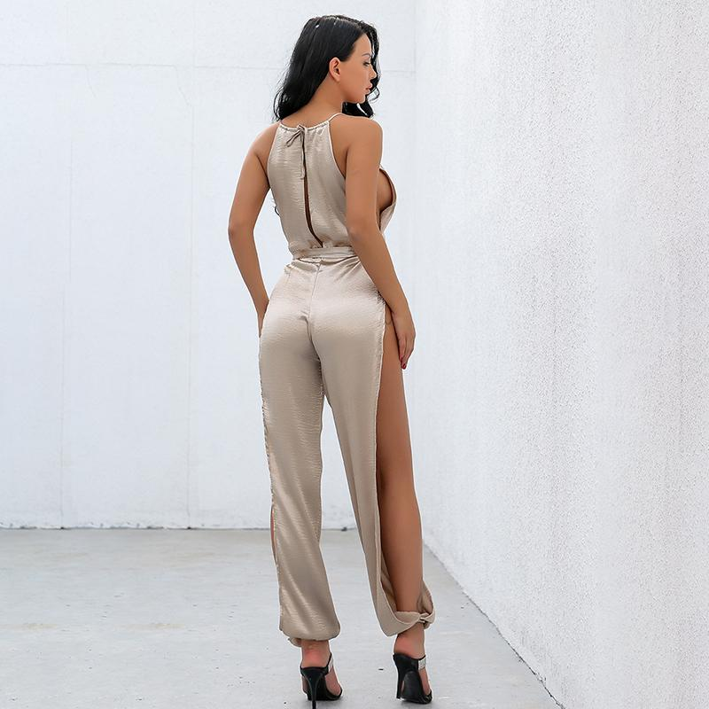 Gold Side Split Casual Jumpsuit