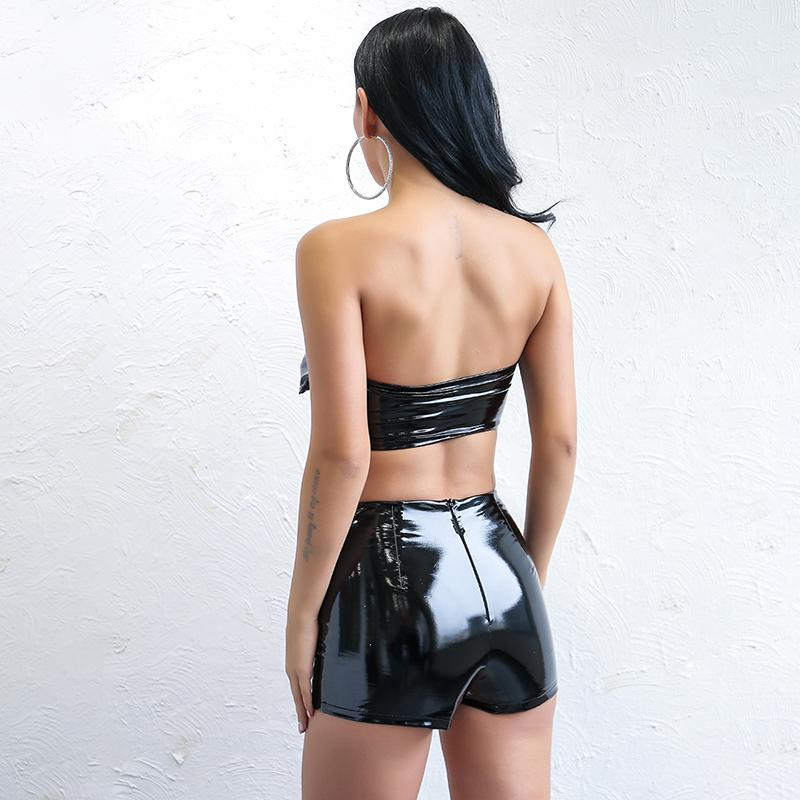 Black Leather Two Piece Jumpsuit