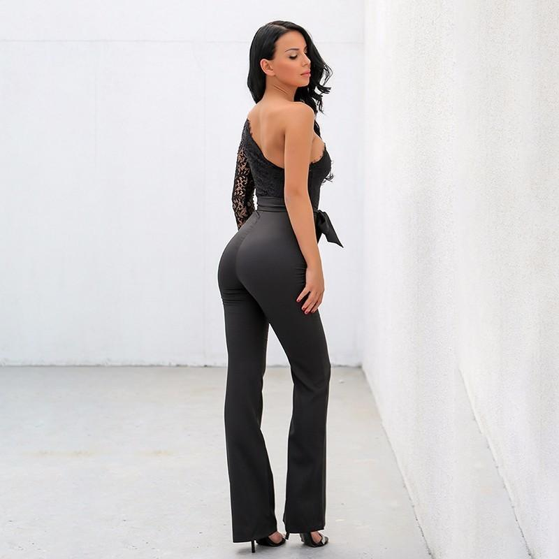 Sexy One Shoulder Belted Jumpsuit