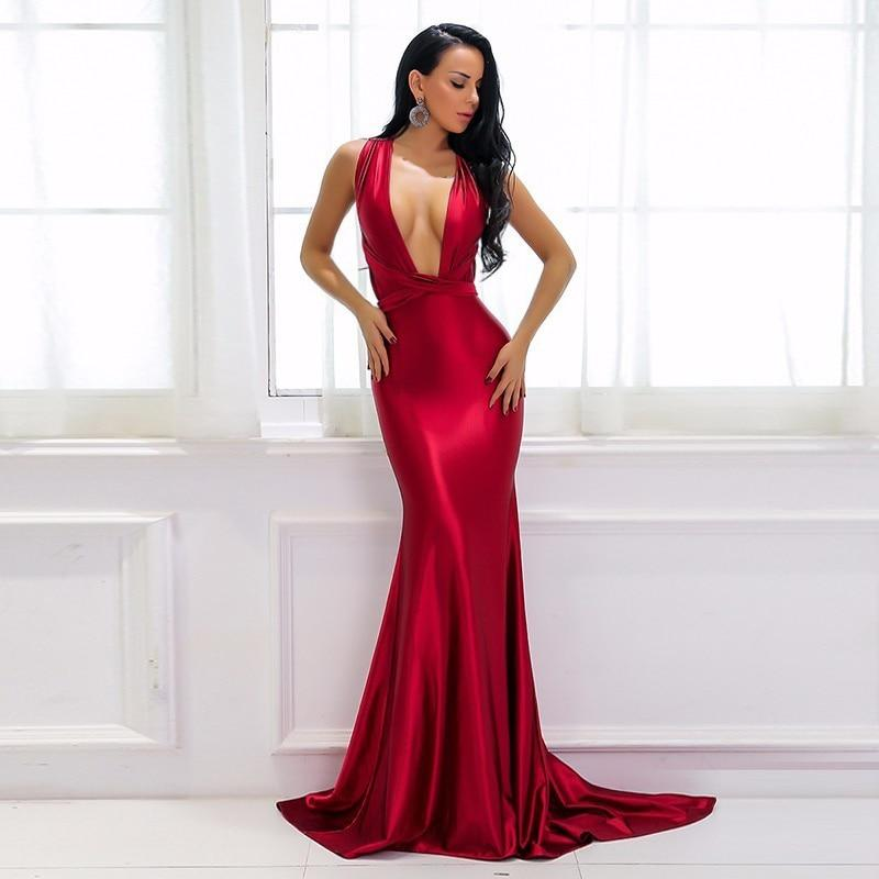 Sexy Red Satin Long Maxi Dress