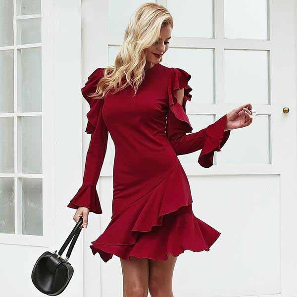 Candy Apple Red Long Sleeve Mini Dress