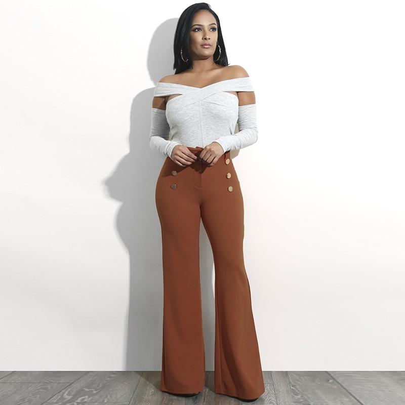 High Waist Flare Bottom Trousers