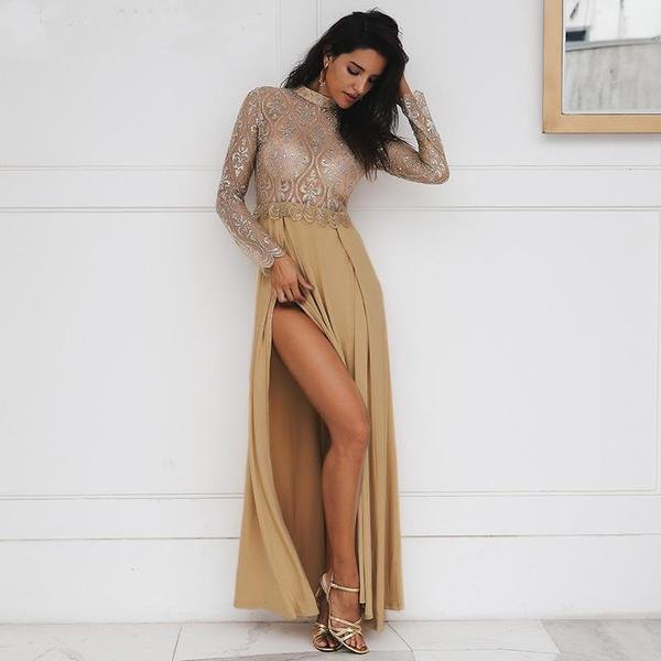 Miami Luxury Gold Lace Party Dress