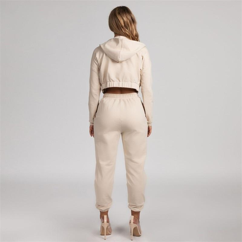 Khaki Hooded Winter Casual Tracksuit