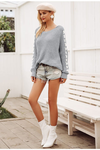 White Striped Long Sleeve Sweater