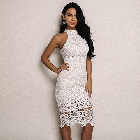 White Two Piece Bandage Dress
