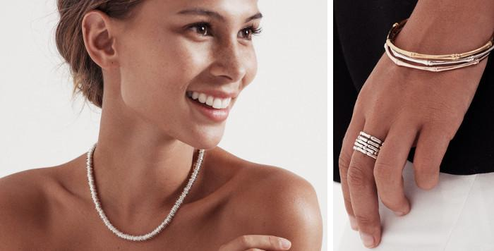 Lady wearing 925 silver necklace & close up of woman's hand wearing 925 sterling silver bracelet & ring