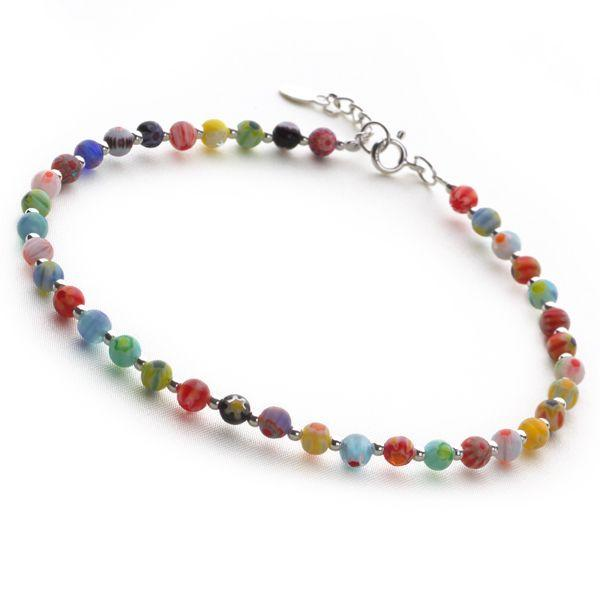 Rainbow Anklet with 925 sterling silver clasp