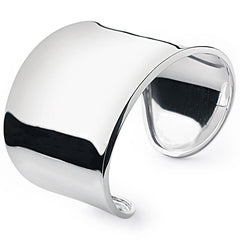 High gloss smooth silver with delicately upturned edges bangle