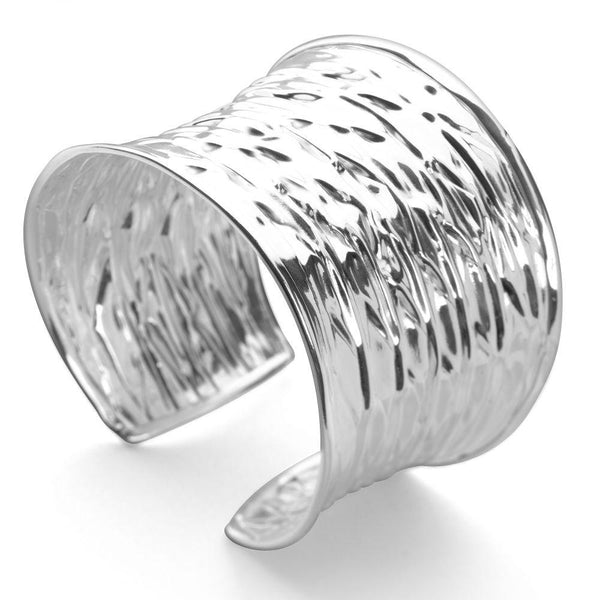 925 sterling silver bangle with ripple effect (BGL569)