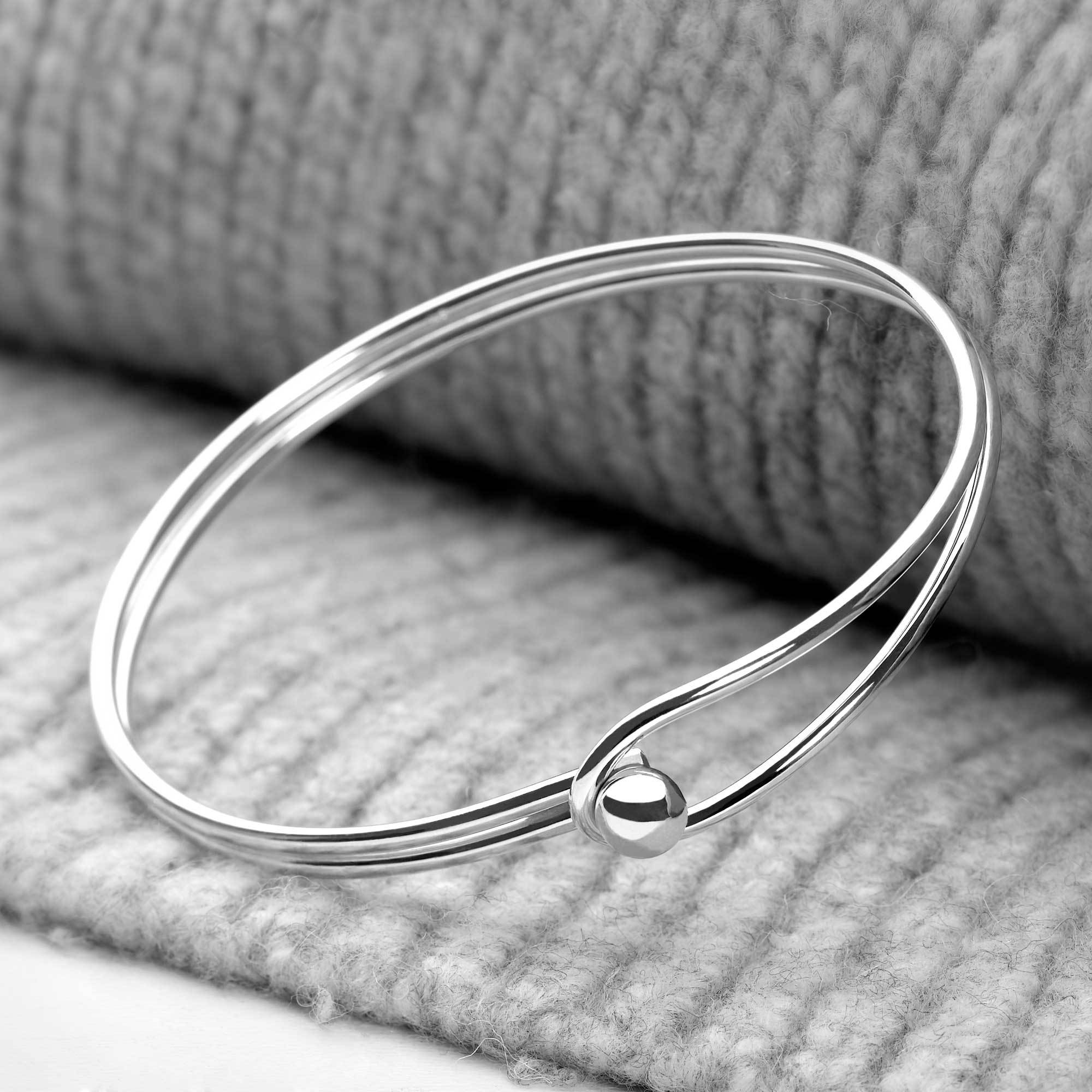 925 sterling silver fused double band loop bangle (BGL6421)