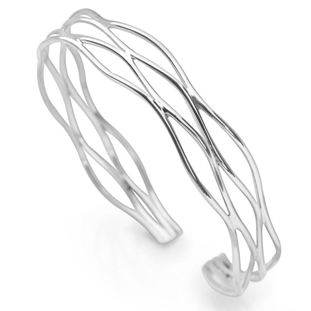 Sterling silver multi-row bangle with layered waves interweaving