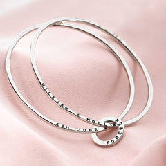 925 sterling silver hammered personalised bangle (BGL 6721)