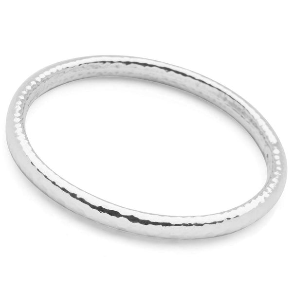 Gently hammered 925 sterling silver bangle BGL679