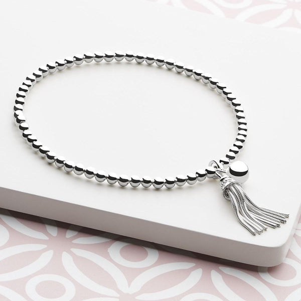 Miniature 925 sterling silver tassel and dainty silver bell with dazzling silver beads bracelet (BRC12001)