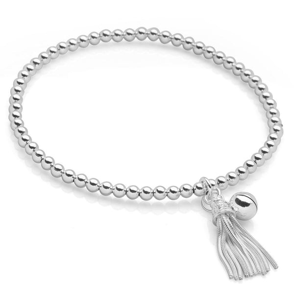 Miniature silver tassel and dainty silver bell with dazzling silver beads bracelet