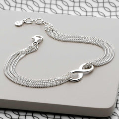 925 sterling silver Infinity symbol with layers of slinky chain bracelet (BRC13071)