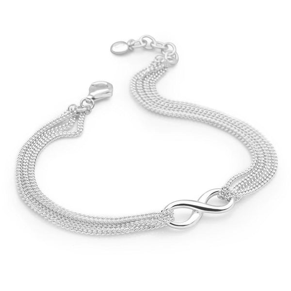 Infinity symbol with layers of slinky chain bracelet