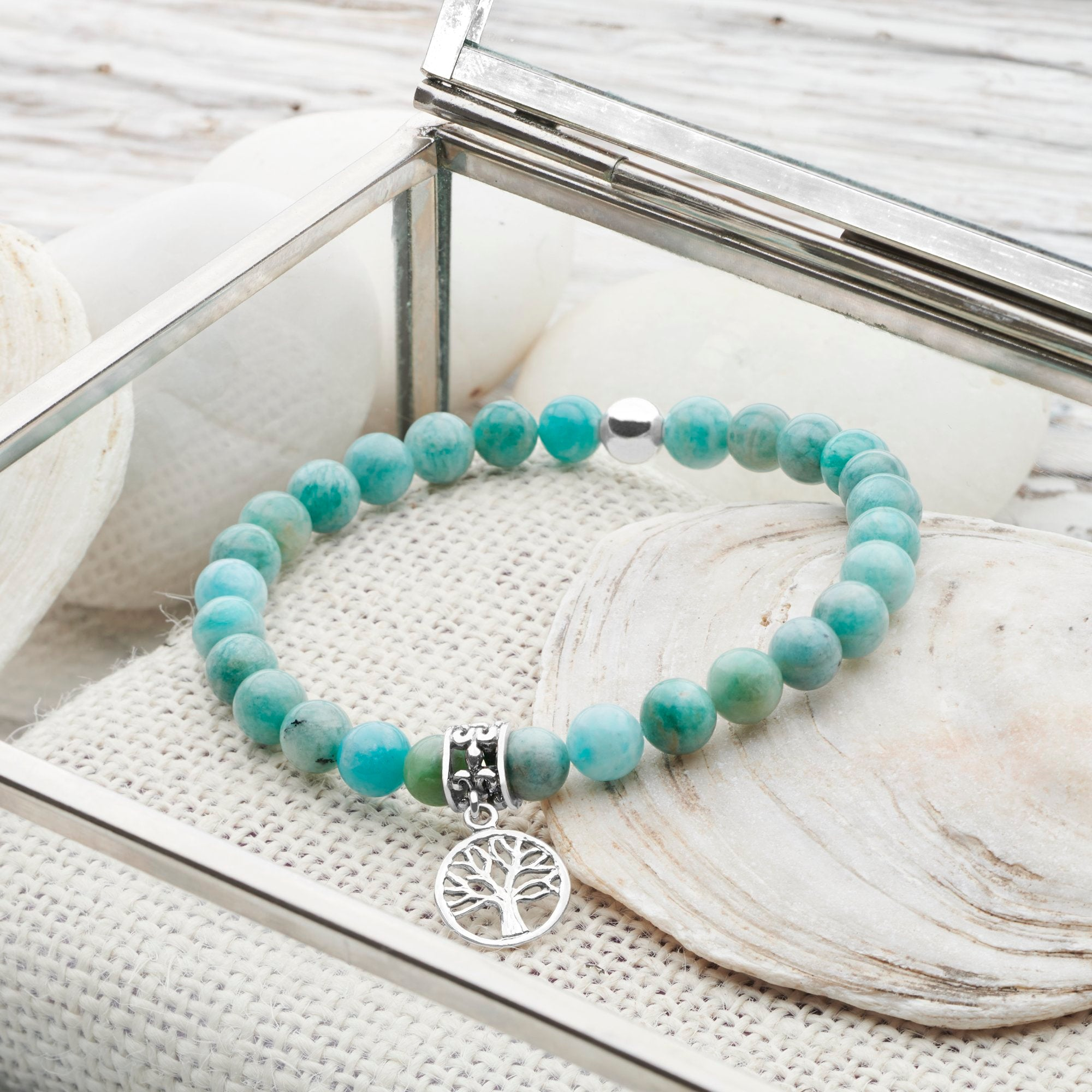 Amazonite Silver Tree of Life Bracelet (BRC13391)