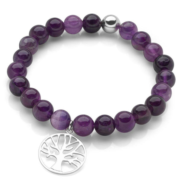 925 sterling silver tree of life charm with amethyst beads bracelet. (BRC1342)