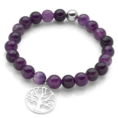 925 sterling silver tree of life charm with amethyst beads bracelet. (BRC13421)