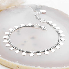 925 sterling silver discs on a classical bracelet. (BRC13821)
