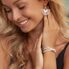 Model wearing 925 sterling silver 5 layer beaded bracelet with one bead holding together (BRC14511)