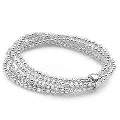 925 sterling silver 5 layer beaded bracelet with one bead holding together (BRC14511)