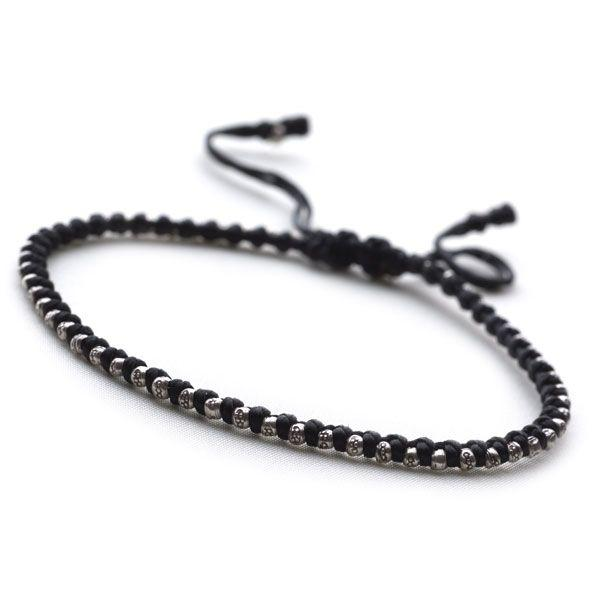 925 sterling silver adjustable bracelet with black cord & silver beads with circle detail (BRC712)