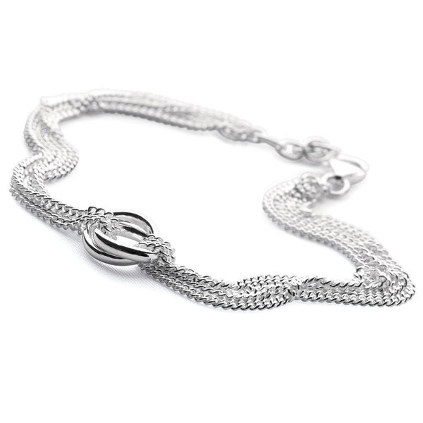 Multiple gleaming loops and layers of slinky chains bracelet