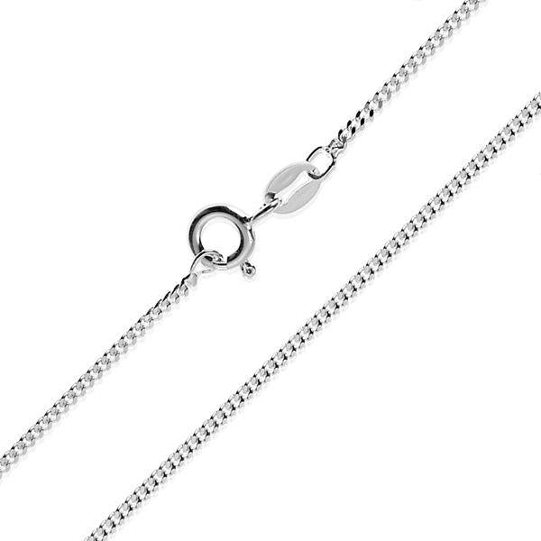 925 sterling silver smooth hexagonal sides curb chain with spring ring clasp