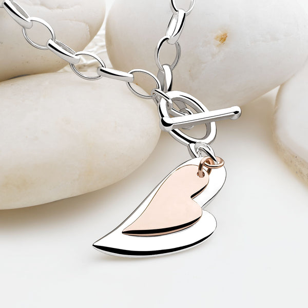 925 sterling silver heart with a second rose gold plated heart necklace (CHN10991)