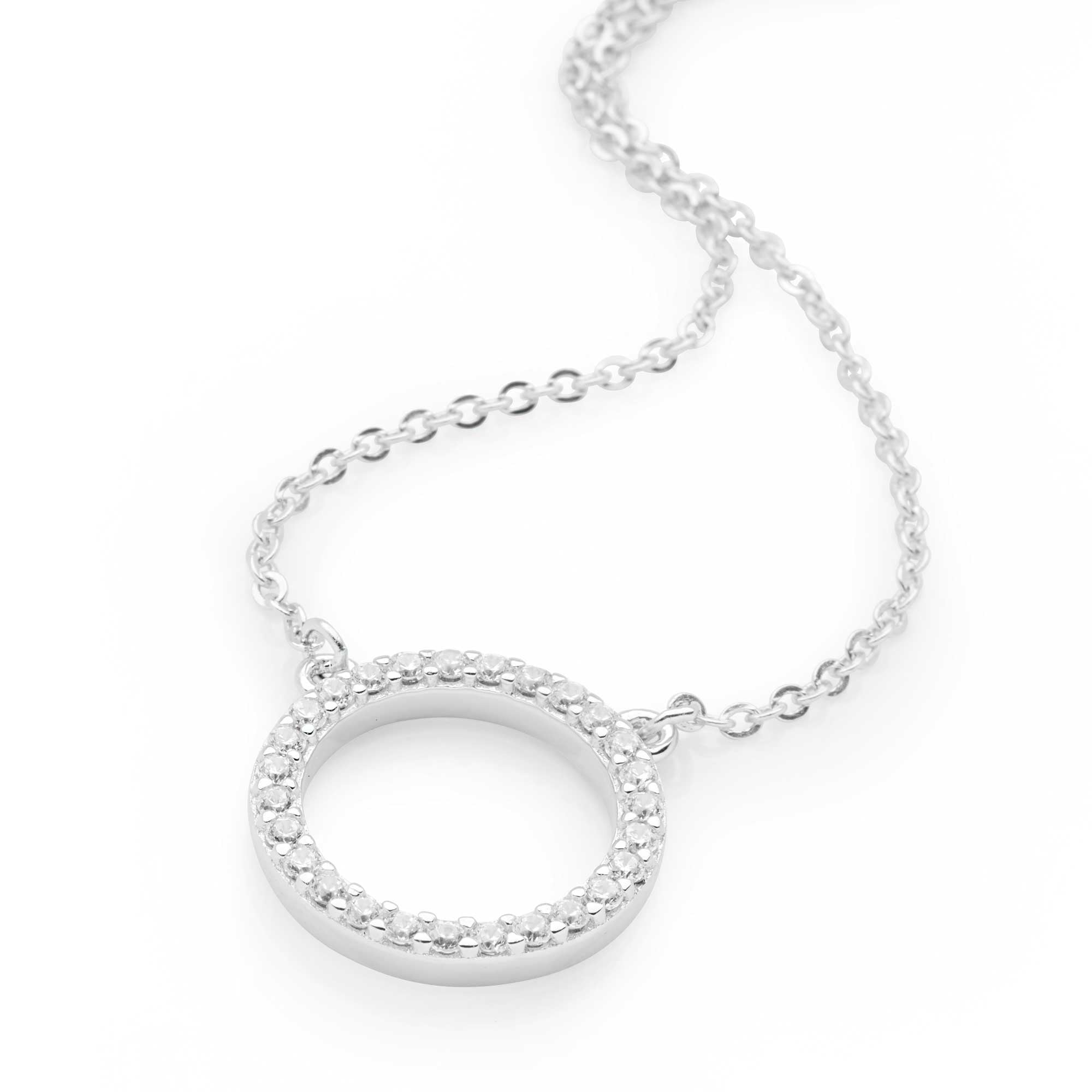 925 sterling silver cubic zirconia circle necklace (CHN11011)