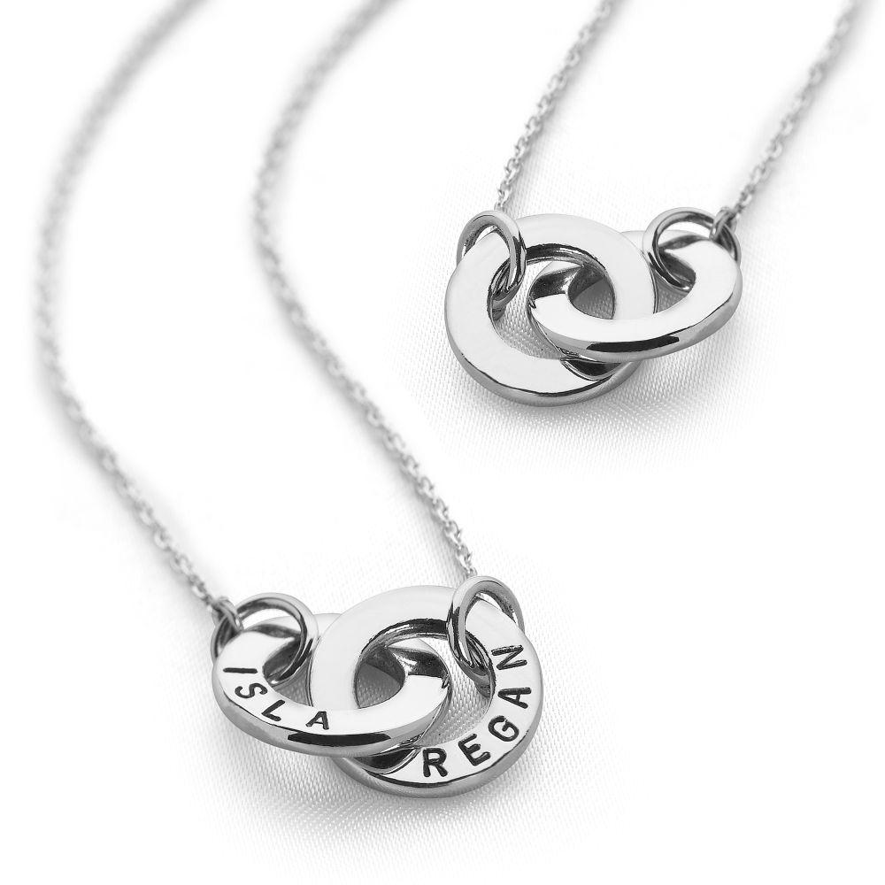 Two intertwined personalized rings necklace