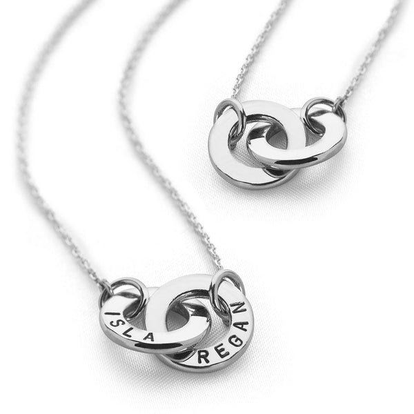 Two intertwined 925 sterling silver personalized rings necklace (CHN8131)