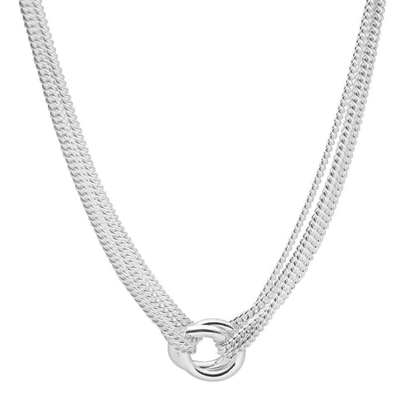 Multiple gleaming loops and layers of slinky chain necklace