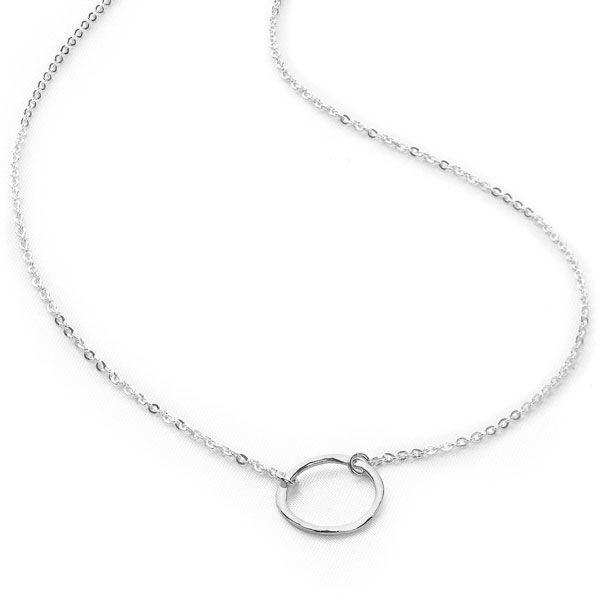 Hammered circle suspended on dainty chain necklace